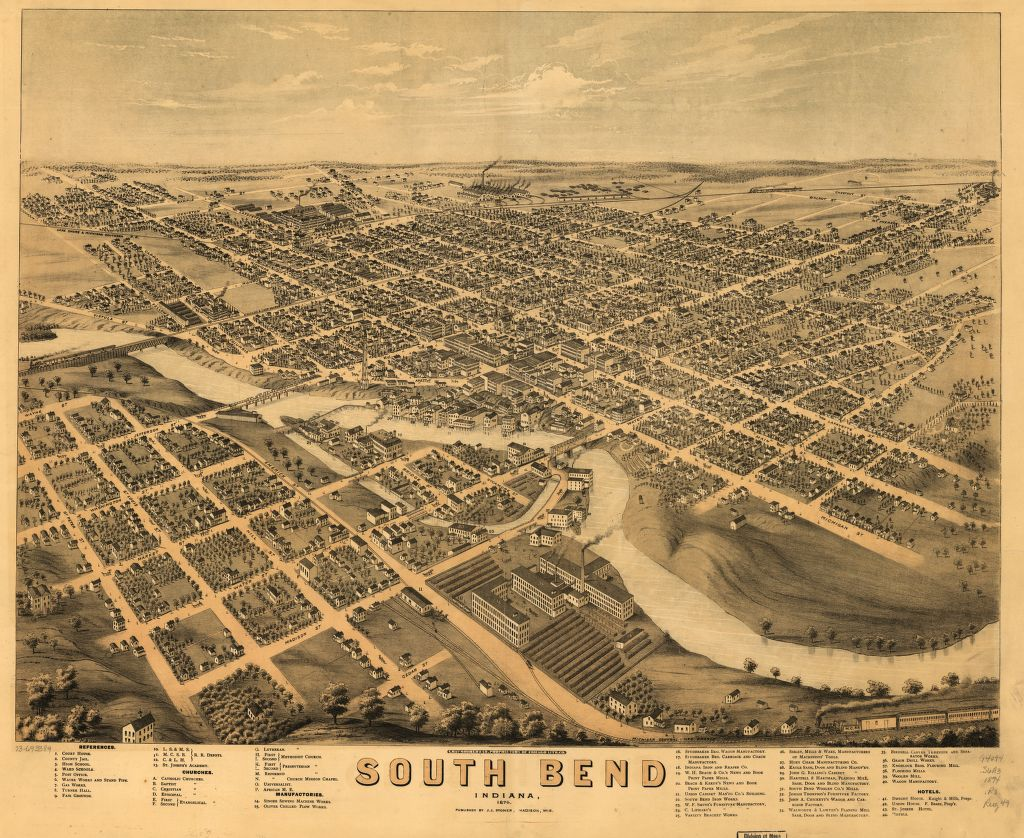 8 x 12 Reproduced Photo of Vintage Old Perspective Birds Eye View Map or Drawing of: South Bend, Indiana 1874. Ruger, A. 1874