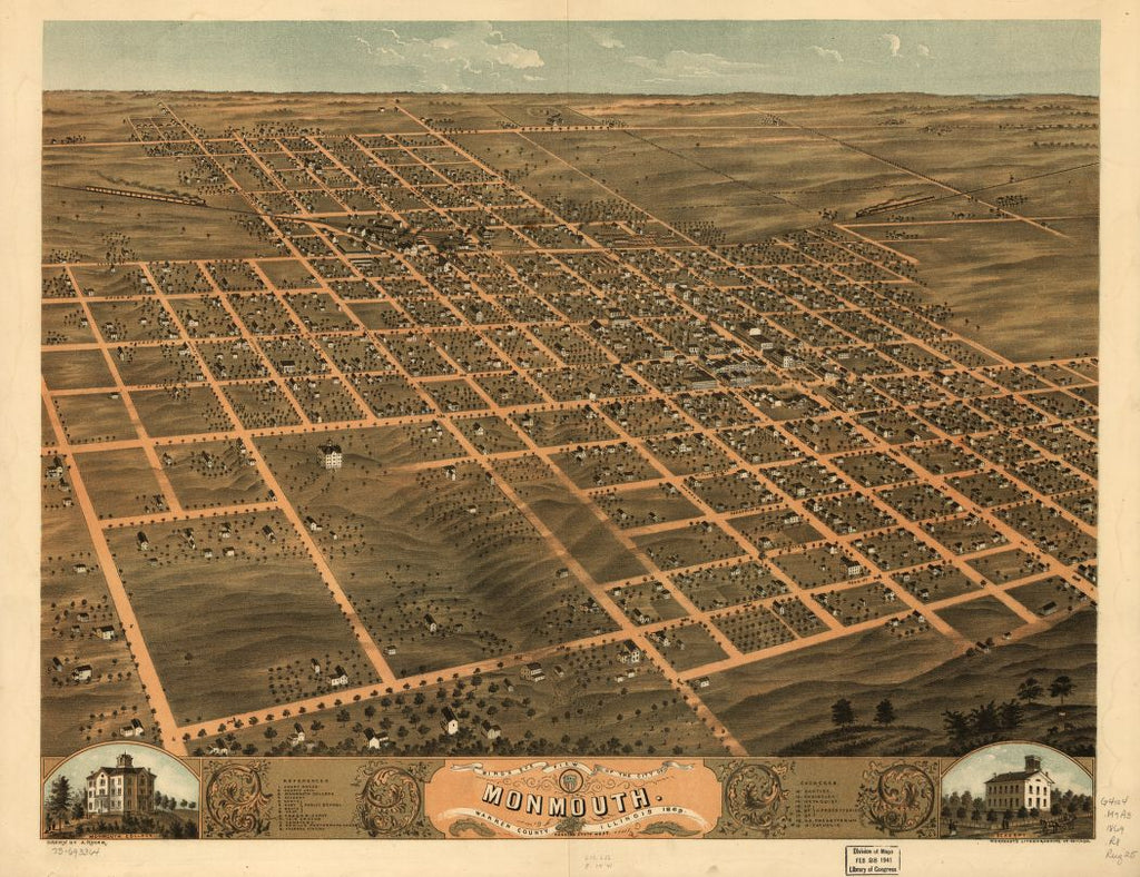 8 x 12 Reproduced Photo of Vintage Old Perspective Birds Eye View Map or Drawing of: Monmouth, Warren County, Illinois 1869. Ruger, A. 1869