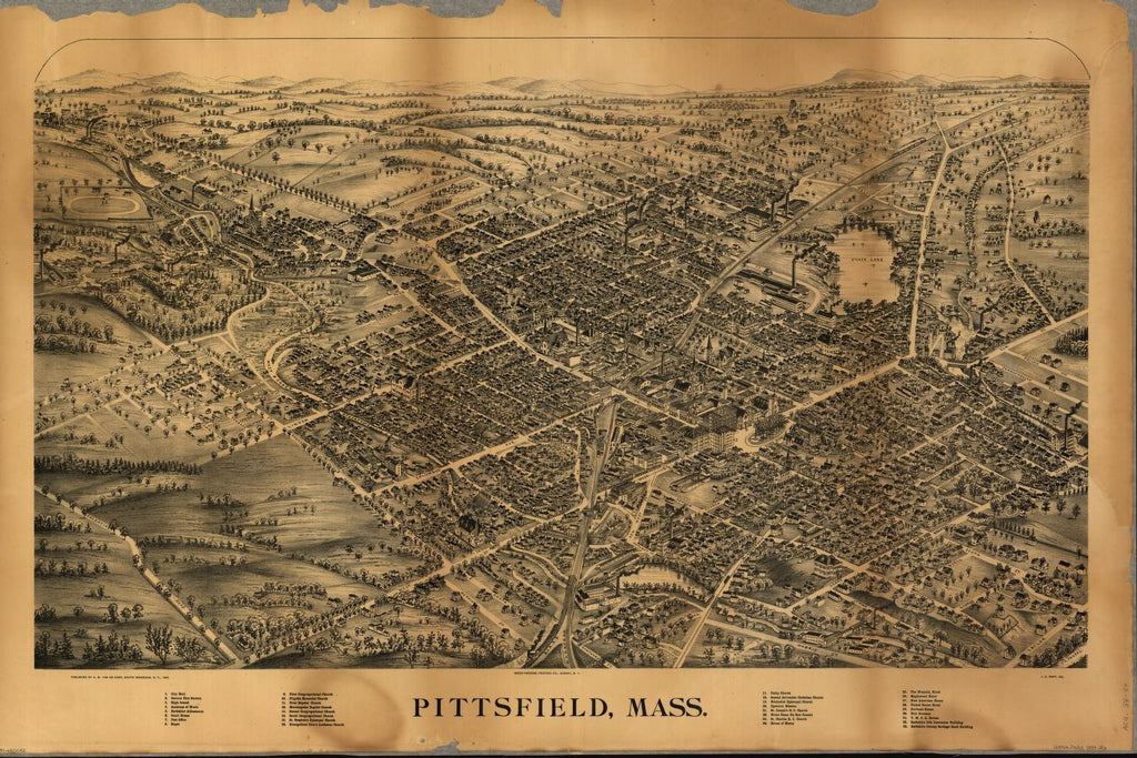8 x 12 Reproduced Photo of Vintage Old Perspective Birds Eye View Map or Drawing of: Pittsfield, Mass.  Rapp, J. E. - Fausel, C. (Christian) - Van De Carr, A. M.  1899