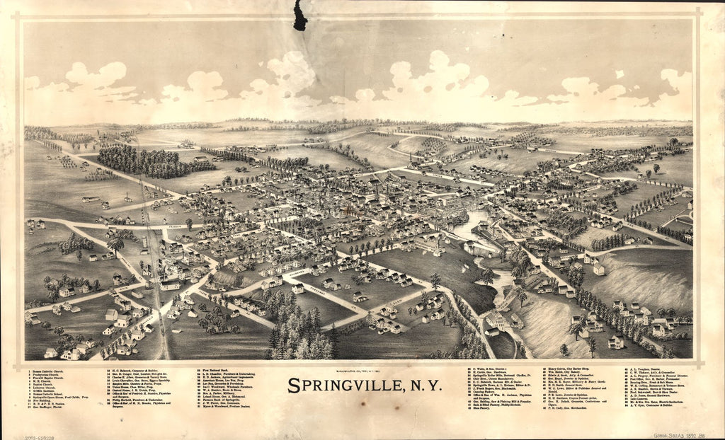 8 x 12 Reproduced Photo of Vintage Old Perspective Birds Eye View Map or Drawing of: Springville, N.Y. Burleigh Litho 1892