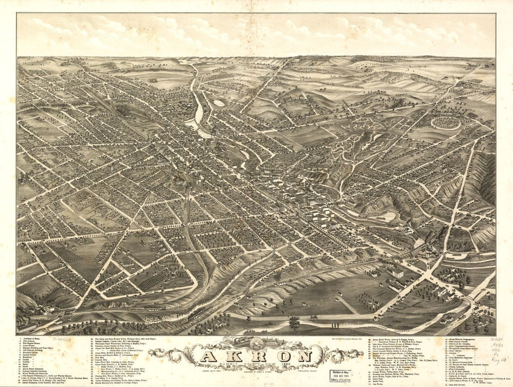 8 x 12 Reproduced Photo of Vintage Old Perspective Birds Eye View Map or Drawing of: Panoramic Akron, Summit County, Ohio 1882. Ruger, A. 1882