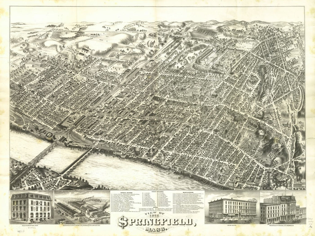 8 x 12 Reproduced Photo of Vintage Old Perspective Birds Eye View Map or Drawing of: Springfield, Mass. 1875.  O.H. Bailey & Co.  1875