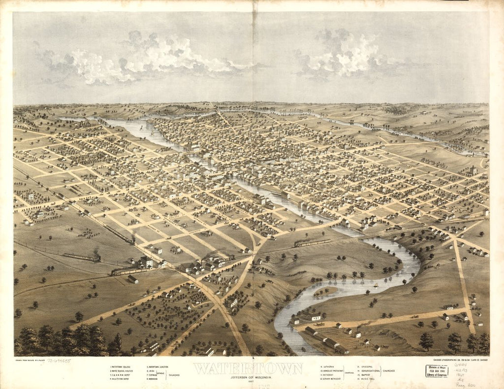 8 x 12 Reproduced Photo of Vintage Old Perspective Birds Eye View Map or Drawing of: Watertown, Jefferson Co., Wisconsin 1867. Ruger, A. 1867