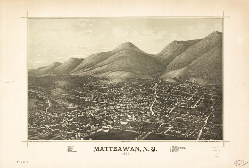 8 x 12 Reproduced Photo of Vintage Old Perspective Birds Eye View Map or Drawing of: Matteawan, N.Y.   Burleigh, L. R. (Lucien R.) - Burleigh Litho - Burleigh, L. R.  1886