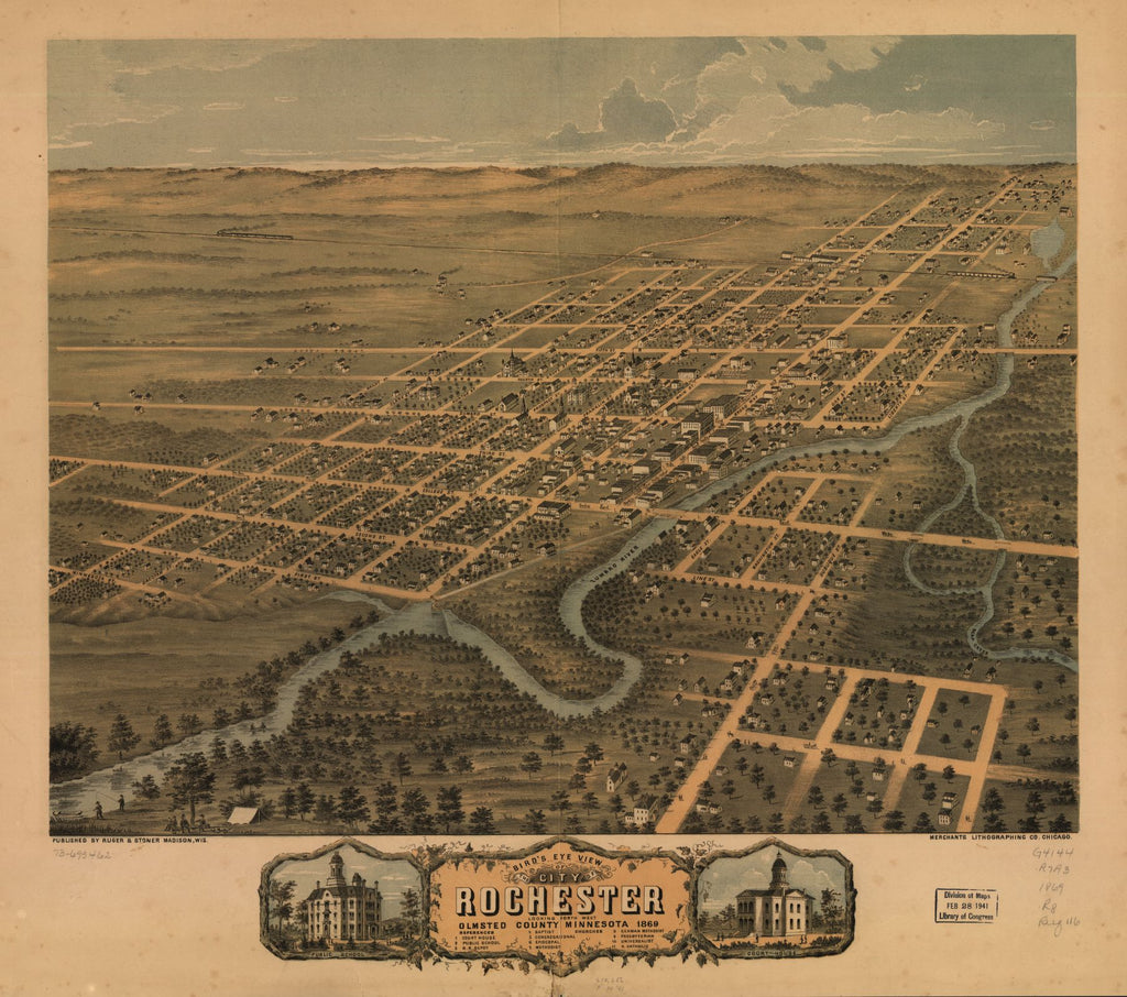 8 x 12 Reproduced Photo of Vintage Old Perspective Birds Eye View Map or Drawing of: Rochester, Olmsted County, Minnesota 1869. Ruger, A. 1869