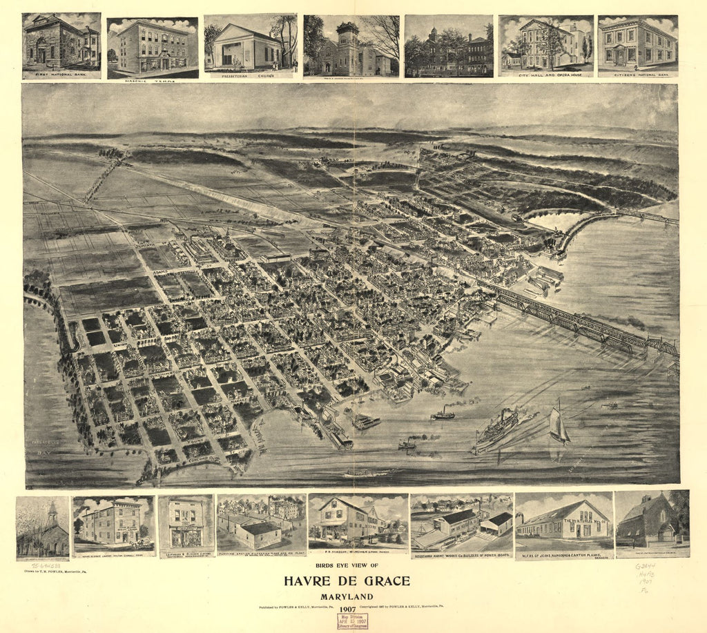8 x 12 Reproduced Photo of Vintage Old Perspective Birds Eye View Map or Drawing of: Havre de Grace, Maryland 1907.  Fowler, T. M. - Fowler & Kelly - Fowler, T. M. 1907
