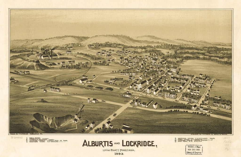 8 x 12 Reproduced Photo of Vintage Old Perspective Birds Eye View Map or Drawing of: Alburtis and Lockridge, Lehigh County, Pennsylvania 1893. Fowler, T. M. - Moyer, James - Fowler, T. M. 1893