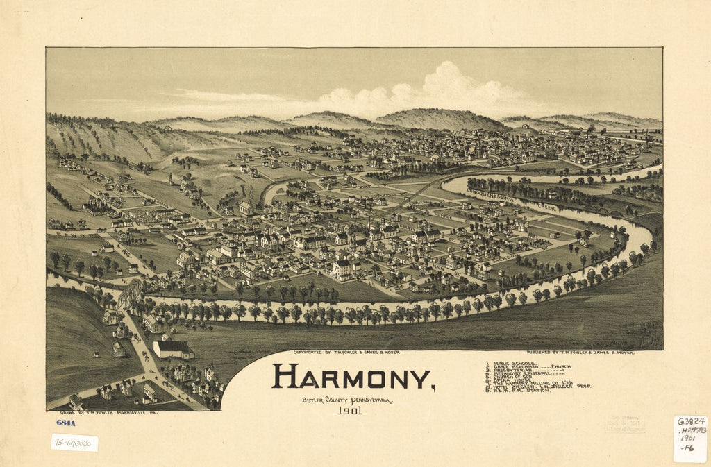 8 x 12 Reproduced Photo of Vintage Old Perspective Birds Eye View Map or Drawing of: Harmony, Butler County, Pennsylvania 1901. Fowler, T. M. - Moyer, James - Fowler, T. M. 1901