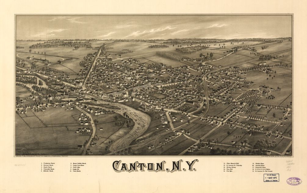 8 x 12 Reproduced Photo of Vintage Old Perspective Birds Eye View Map or Drawing of: Canton, N.Y.  Burleigh, L. R. - C.H. Vogt & Son  1885