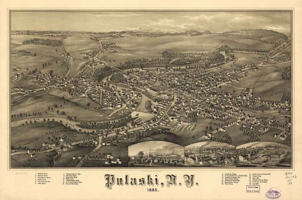 8 x 12 Reproduced Photo of Vintage Old Perspective Birds Eye View Map or Drawing of: Pulaski, N.Y. 1885. Burleigh, L. R. (Lucien R.) - C.H. Vogt & Son - Burleigh, L. R. 1885