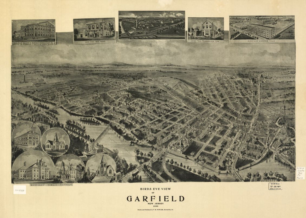 8 x 12 Reproduced Photo of Vintage Old Perspective Birds Eye View Map or Drawing of: Garfield, New Jersey 1909 Fowler, T. M. - Fowler, T. M. 1909