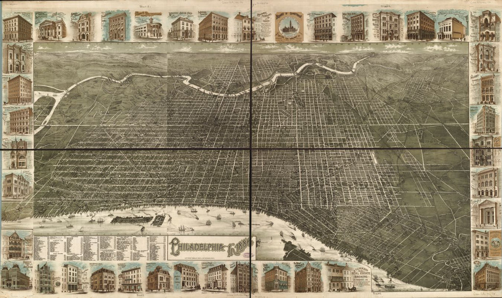 8 x 12 Reproduced Photo of Vintage Old Perspective Birds Eye View Map or Drawing of: Philadelphia in 1886. Burk & McFetridge 1886