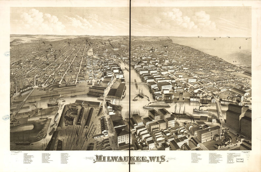8 x 12 Reproduced Photo of Vintage Old Perspective Birds Eye View Map or Drawing of: Milwaukee, Wis. 1879. Stoner, J. J. 1879