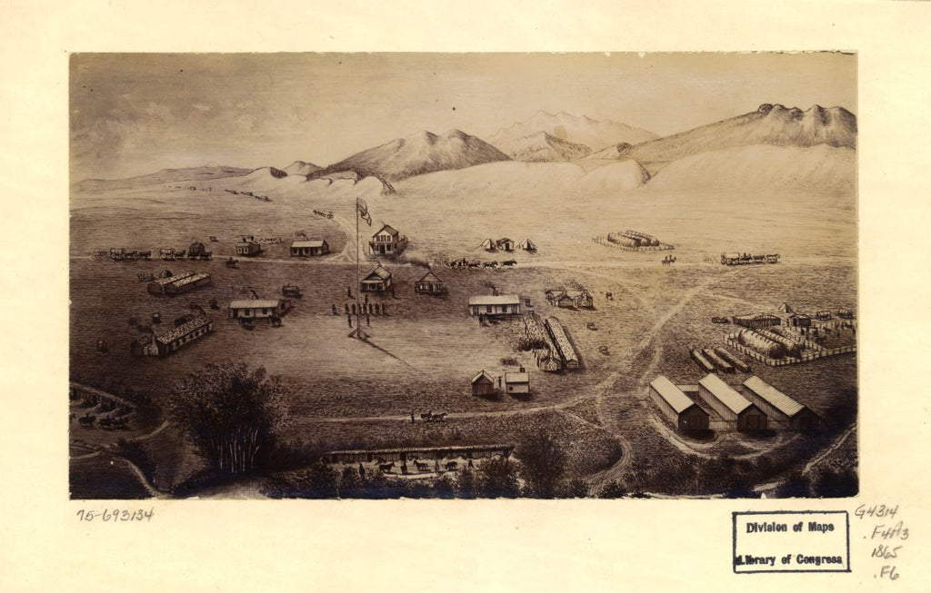 8 x 12 Reproduced Photo of Vintage Old Perspective Birds Eye View Map or Drawing of: [Fort Collins, Colorado. Houghton, Merritt Dana. 1865?