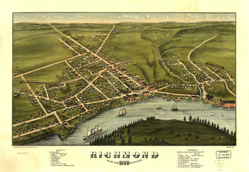 8 x 12 Reproduced Photo of Vintage Old Perspective Birds Eye View Map or Drawing of: Richmond, Sagadahoc Co., Maine 1878.  Ruger, A. - D. Bremner Co 1878