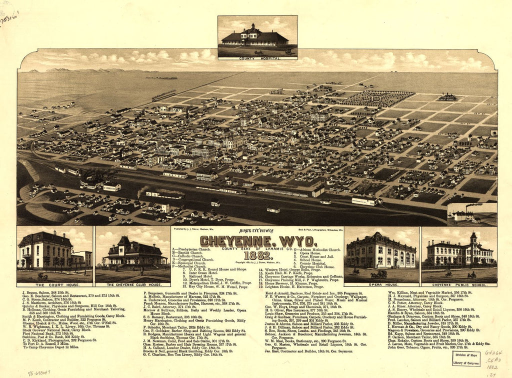 8 x 12 Reproduced Photo of Vintage Old Perspective Birds Eye View Map or Drawing of: Cheyenne, Wyo. county seat of Laramie Co. 1882. Stoner, J. J. 1882