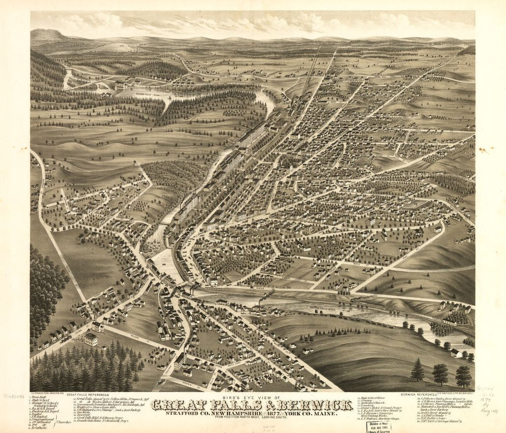 8 x 12 Reproduced Photo of Vintage Old Perspective Birds Eye View Map or Drawing of: Great Falls, Strafford Co., New Hampshire & Berwick, York Co., Maine 1877.  Ruger, A. - Stoner, J. J. - C.H. Vogt & Son  1877