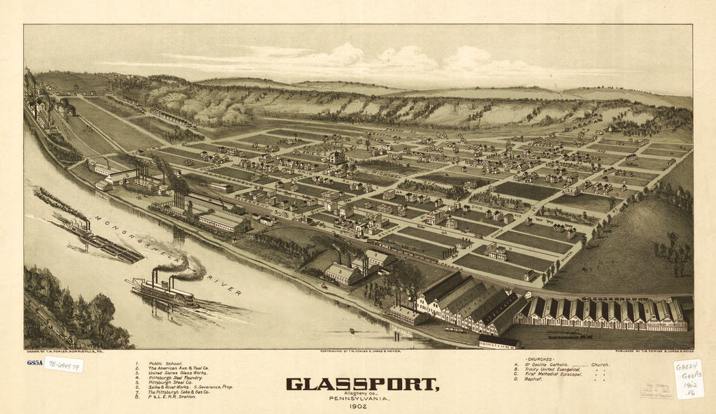 8 x 12 Reproduced Photo of Vintage Old Perspective Birds Eye View Map or Drawing of: Glassport, Allegheny Co., Pennsylvania 1902. Fowler, T. M. - Moyer, James - Fowler, T. M. 1902