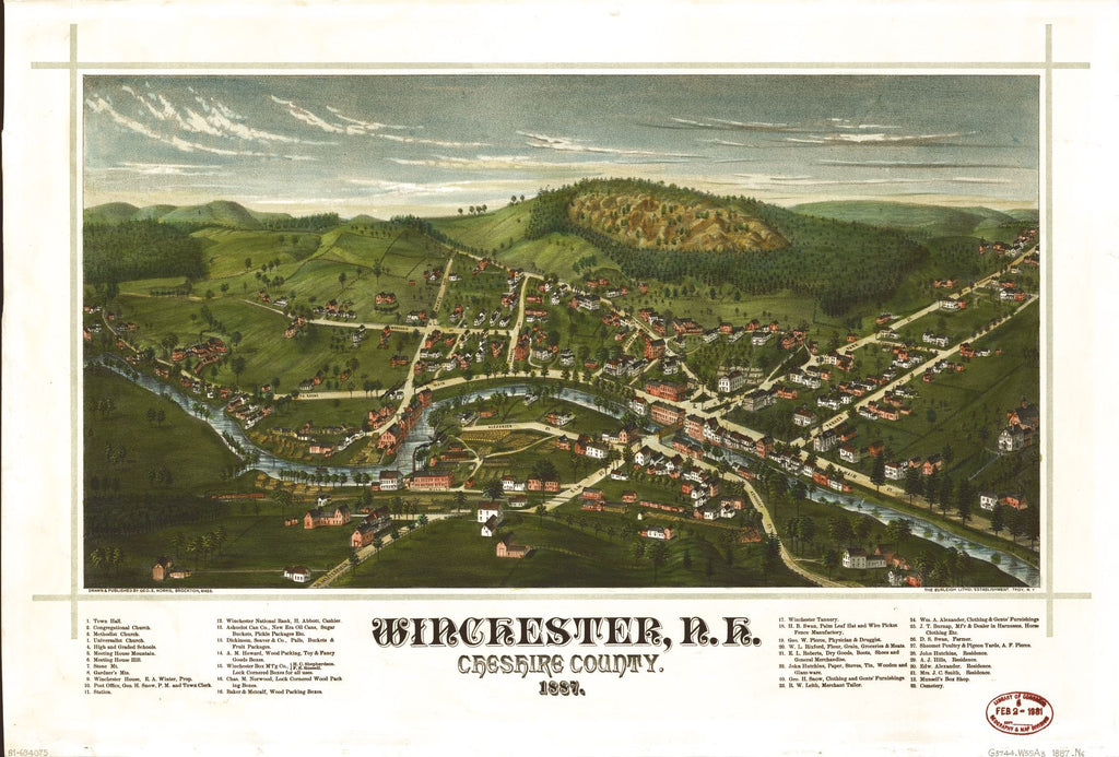 8 x 12 Reproduced Photo of Vintage Old Perspective Birds Eye View Map or Drawing of: Winchester, N.H., Cheshire County, 1887  Norris, George E. - Burleigh Litho  1887