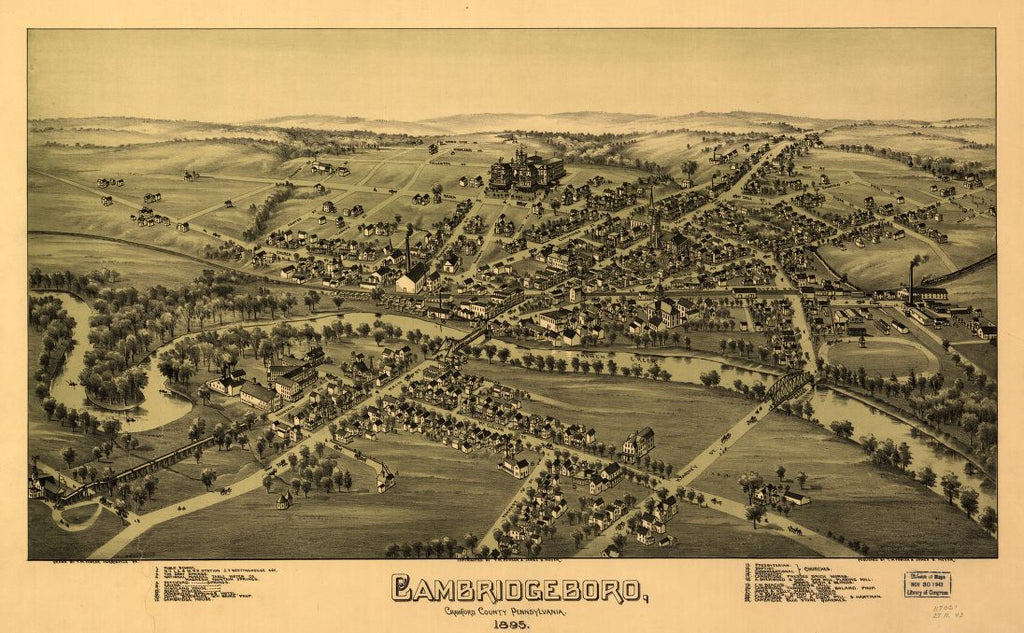 8 x 12 Reproduced Photo of Vintage Old Perspective Birds Eye View Map or Drawing of: Cambridgeboro, Crawford County, Pennsylvania, 1895 Fowler, T. M. - Moyer, James - Fowler, T. M. 1895
