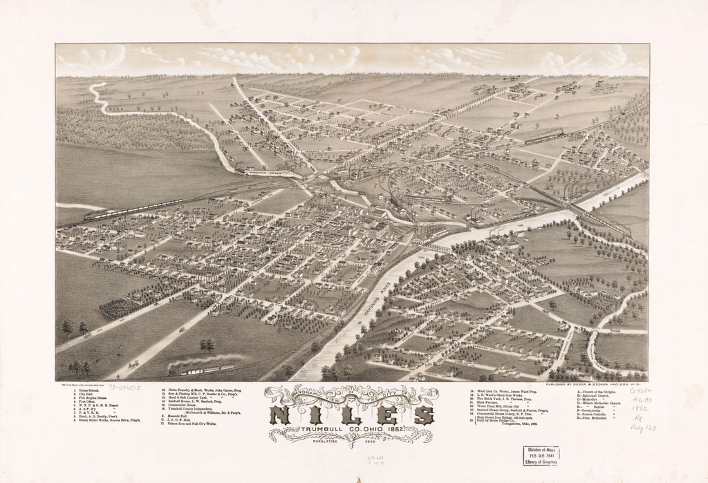 8 x 12 Reproduced Photo of Vintage Old Perspective Birds Eye View Map or Drawing of: Panoramic Niles, Trumbull Co., Ohio 1882. Ruger, A. 1882