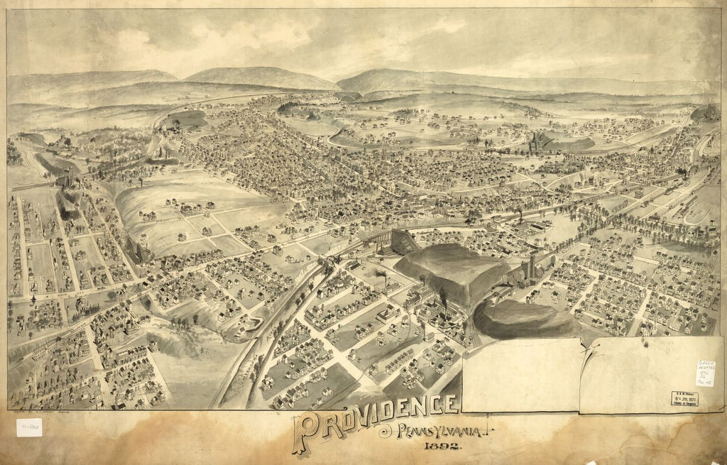 8 x 12 Reproduced Photo of Vintage Old Perspective Birds Eye View Map or Drawing of: Providence, Pennsylvania 1892.  Downs, A. E. (Albert E.) - Downs, A. E.  1892