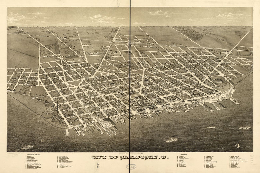 8 x 12 Reproduced Photo of Vintage Old Perspective Birds Eye View Map or Drawing of: Sandusky, O. Hare, A. J. 1883