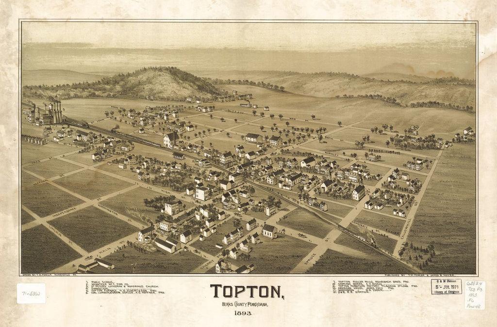 8 x 12 Reproduced Photo of Vintage Old Perspective Birds Eye View Map or Drawing of: Topton, Berks County, Pennsylvania 1893   Fowler, T. M. - Moyer, James - Fowler, T. M.  1893
