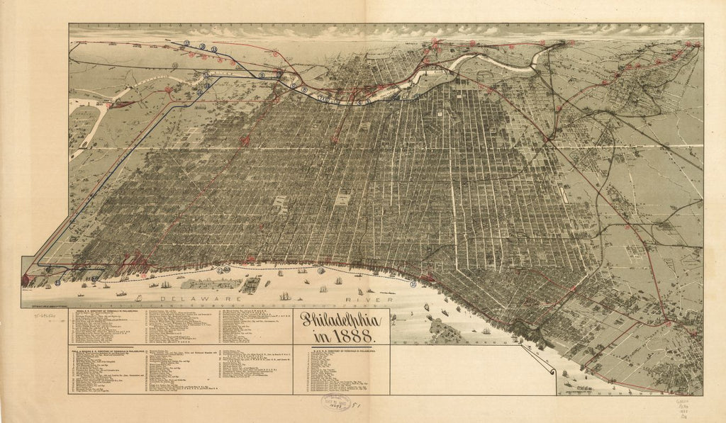 8 x 12 Reproduced Photo of Vintage Old Perspective Birds Eye View Map or Drawing of: Philadelphia in 1888. Burk & McFetridge 1888