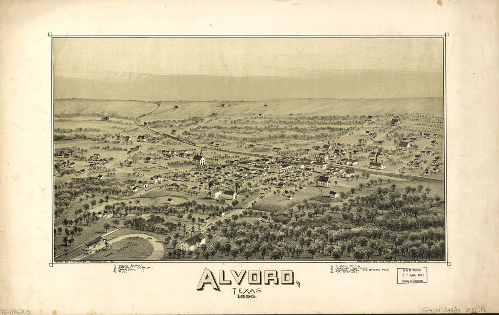 8 x 12 Reproduced Photo of Vintage Old Perspective Birds Eye View Map or Drawing of: Alvord, Texas. Fowler, T. M. (Thaddeus Mortimer), 1842-1922.Moyer, James B. 1890
