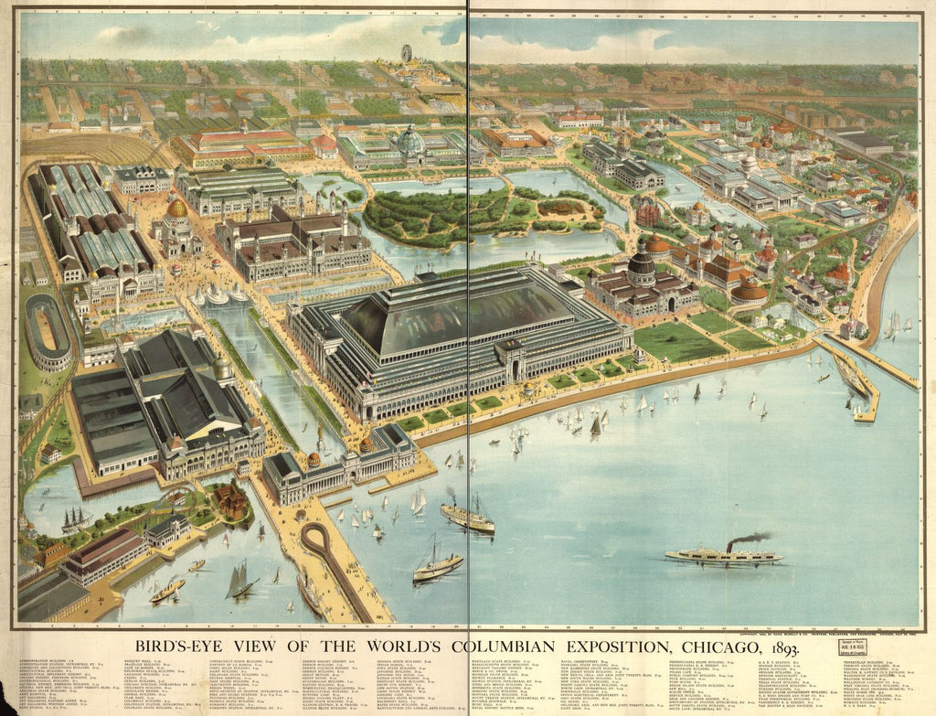 8 x 12 Reproduced Photo of Vintage Old Perspective Birds Eye View Map or Drawing of: the World's Columbian Exposition, Chicago, 1893. Rand McNally and Company. 1893