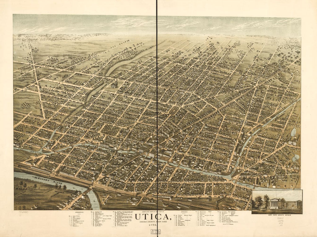 8 x 12 Reproduced Photo of Vintage Old Perspective Birds Eye View Map or Drawing of: Utica, Oneida County, New York 1873. Brosius, H. 1873