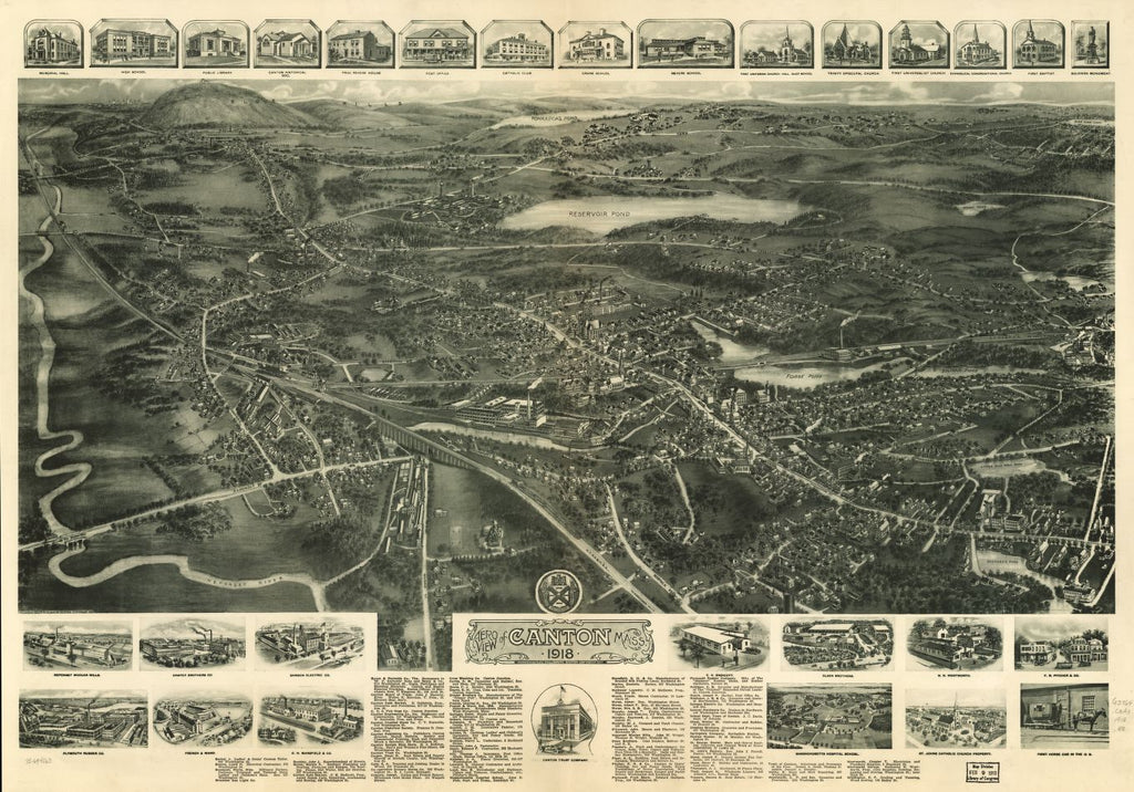 8 x 12 Reproduced Photo of Vintage Old Perspective Birds Eye View Map or Drawing of: Canton, Mass. 1918.  Hughes & Bailey  1918