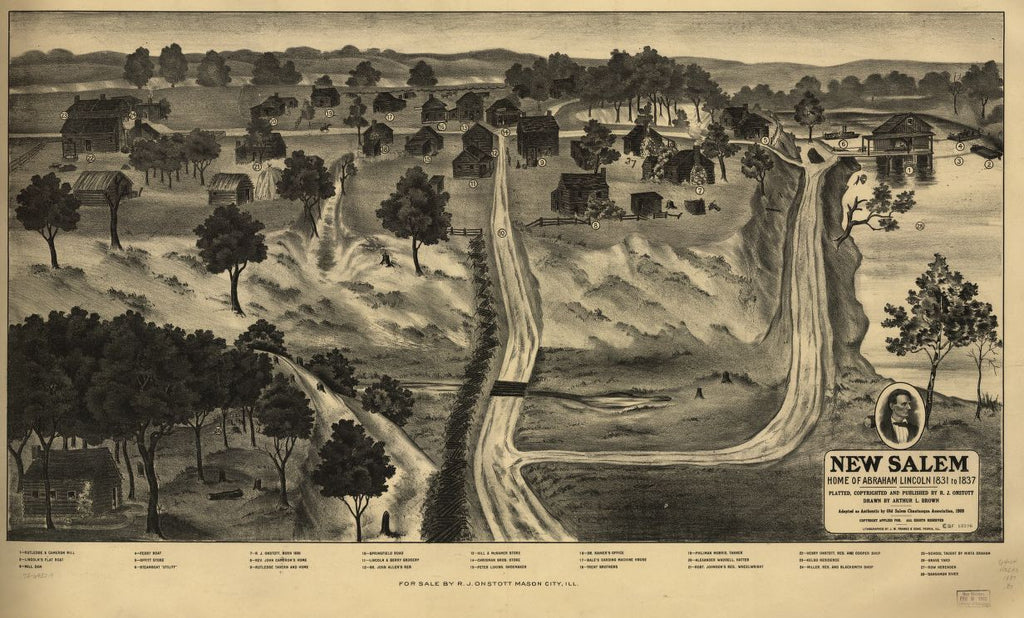 8 x 12 Reproduced Photo of Vintage Old Perspective Birds Eye View Map or Drawing of: New Salem, home of Abraham Lincoln 1831 to 1837. Brown, Arthur L. 1909
