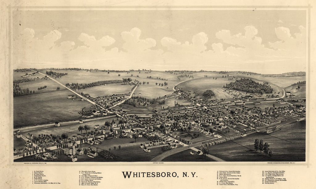 8 x 12 Reproduced Photo of Vintage Old Perspective Birds Eye View Map or Drawing of: Whitesboro, N.Y. Burleigh Litho - Burleigh, L. R. (Lucien R.) 1891