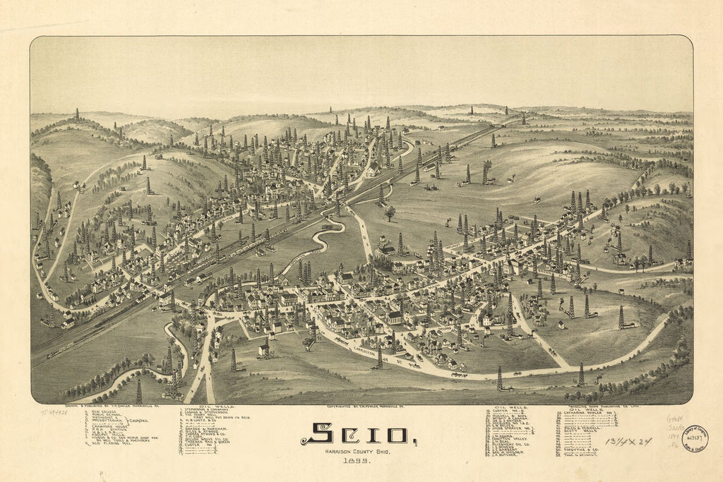 8 x 12 Reproduced Photo of Vintage Old Perspective Birds Eye View Map or Drawing of: Scio, Harrison County, Ohio 1899. Fowler, T. M. (Thaddeus Mortimer 1899