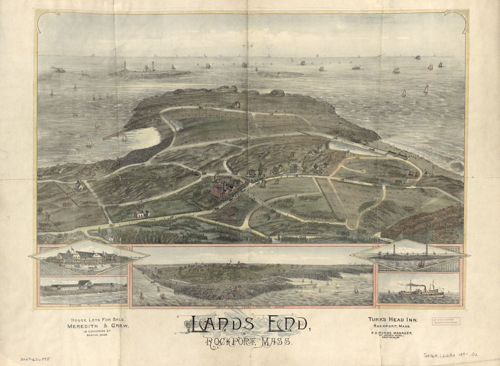 8 x 12 Reproduced Photo of Vintage Old Perspective Birds Eye View Map or Drawing of: Lands End, Rockport, Mass.  O.H. Bailey & Co. - Meredith & Grew  188?