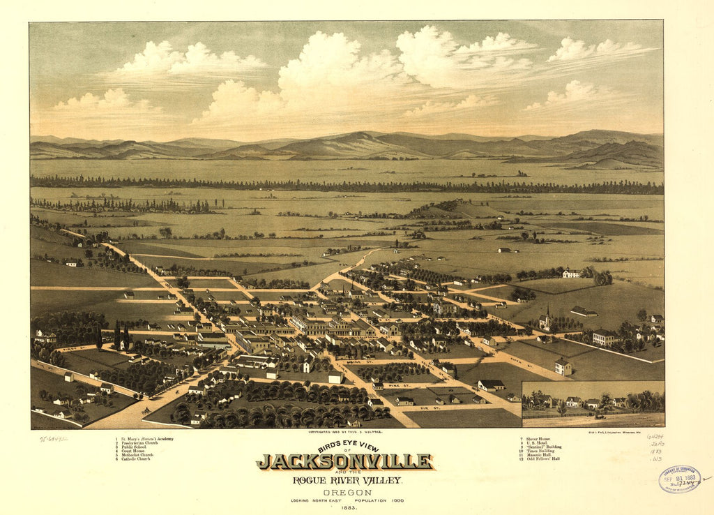 8 x 12 Reproduced Photo of Vintage Old Perspective Birds Eye View Map or Drawing of: Jacksonville and the Rogue River Valley, Oregon 1883. Walpole, Fred A. 1883