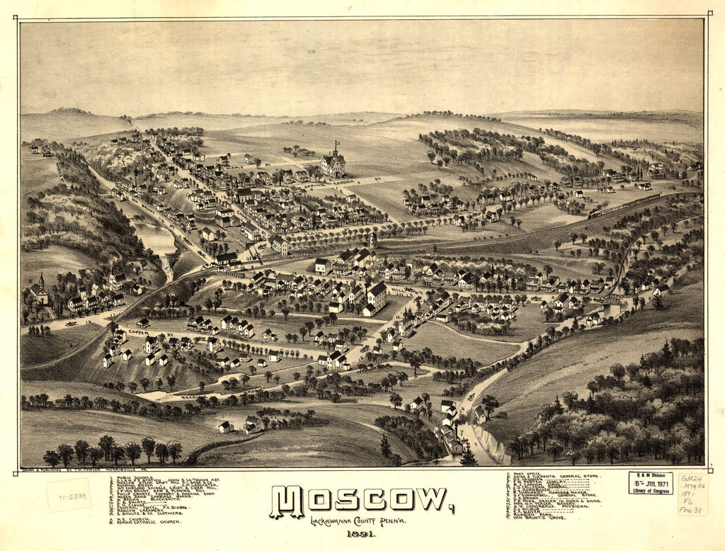 8 x 12 Reproduced Photo of Vintage Old Perspective Birds Eye View Map or Drawing of: Moscow, Lackawanna County, Penn'a. 1891 Fowler, T. M. - Fowler, T. M. 1891