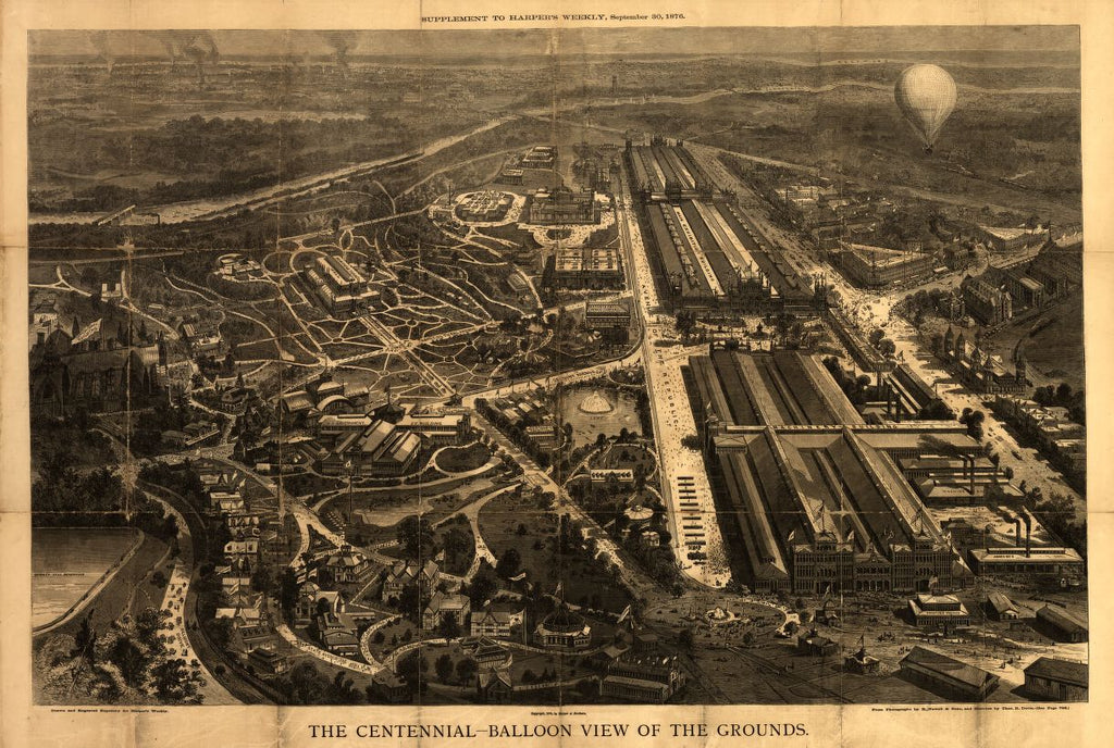8 x 12 Reproduced Photo of Vintage Old Perspective Birds Eye View Map or Drawing of: The Centennial--balloon the grounds : [Centennial Exhibition at Philadelphia, 1876]  Harper & Brothers - Davis, Theodore R. - R. Newell & Son 1876