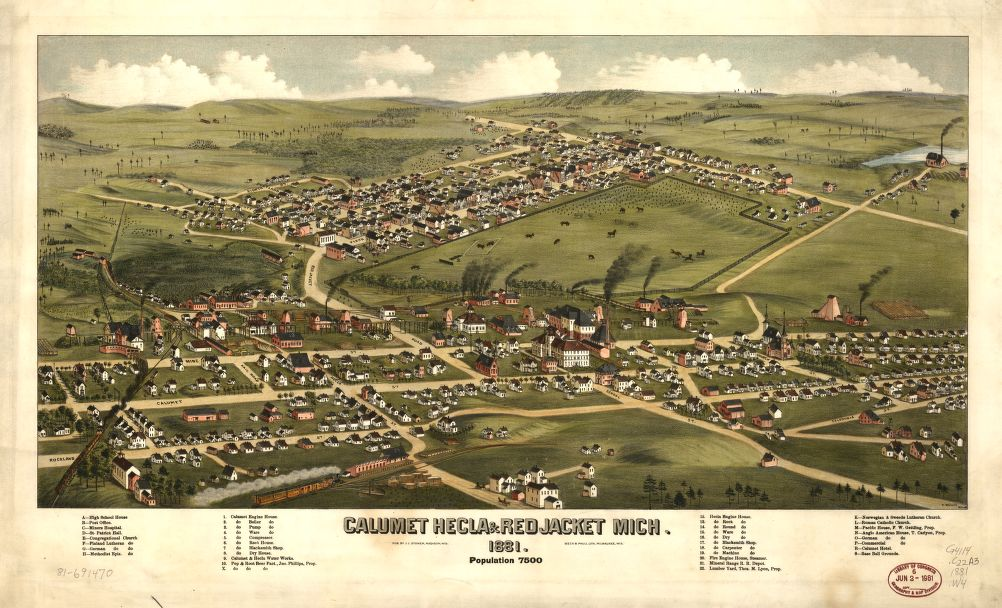 8 x 12 Reproduced Photo of Vintage Old Perspective Birds Eye View Map or Drawing of: Calumet, Hecla & Red Jacket, Mich. : 1881 Wellge, H. (Henry) 1881