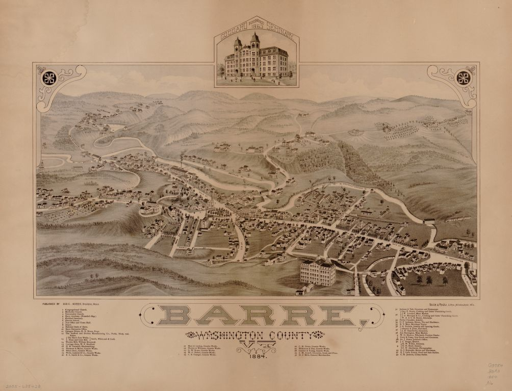 8 x 12 Reproduced Photo of Vintage Old Perspective Birds Eye View Map or Drawing of: Barre, Washington County, VT, 1884.   Norris, George E. - Beck & Pauli  1884
