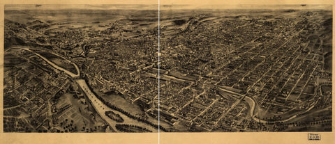 8 x 12 Reproduced Photo of Vintage Old Perspective Birds Eye View Map or Drawing of:  Allentown, Pennsylvania. Fowler, T. M. (Thaddeus Mortimer), 1842-1922.Hughes & Fowler. 1922