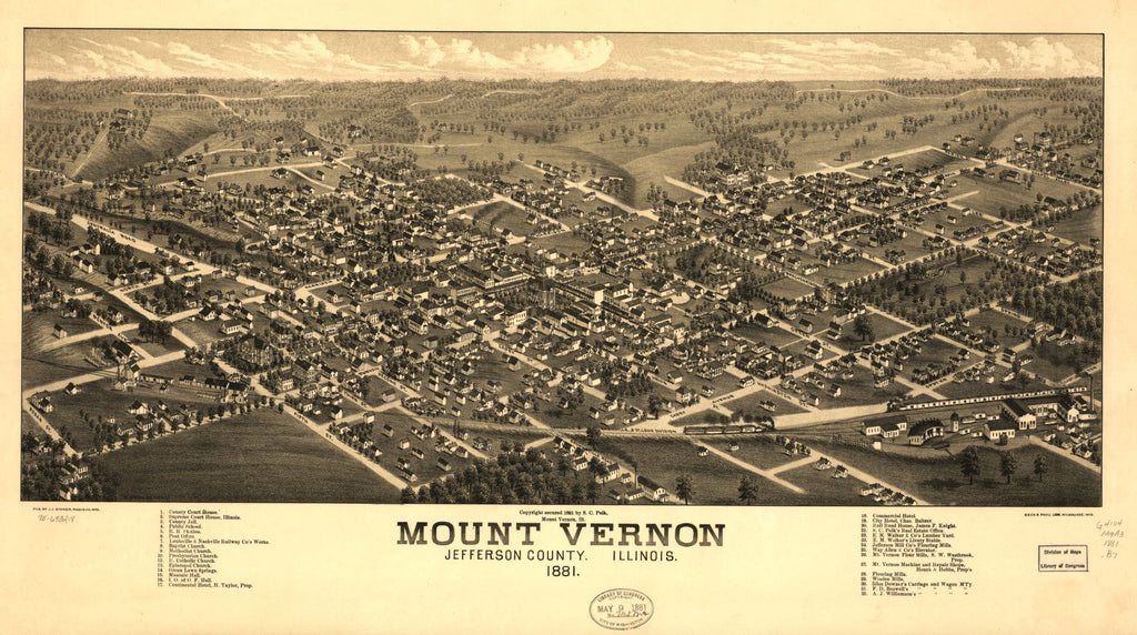 8 x 12 Reproduced Photo of Vintage Old Perspective Birds Eye View Map or Drawing of: Mount Vernon, Jefferson County, Illinois 1881. Brosius, H. c1881
