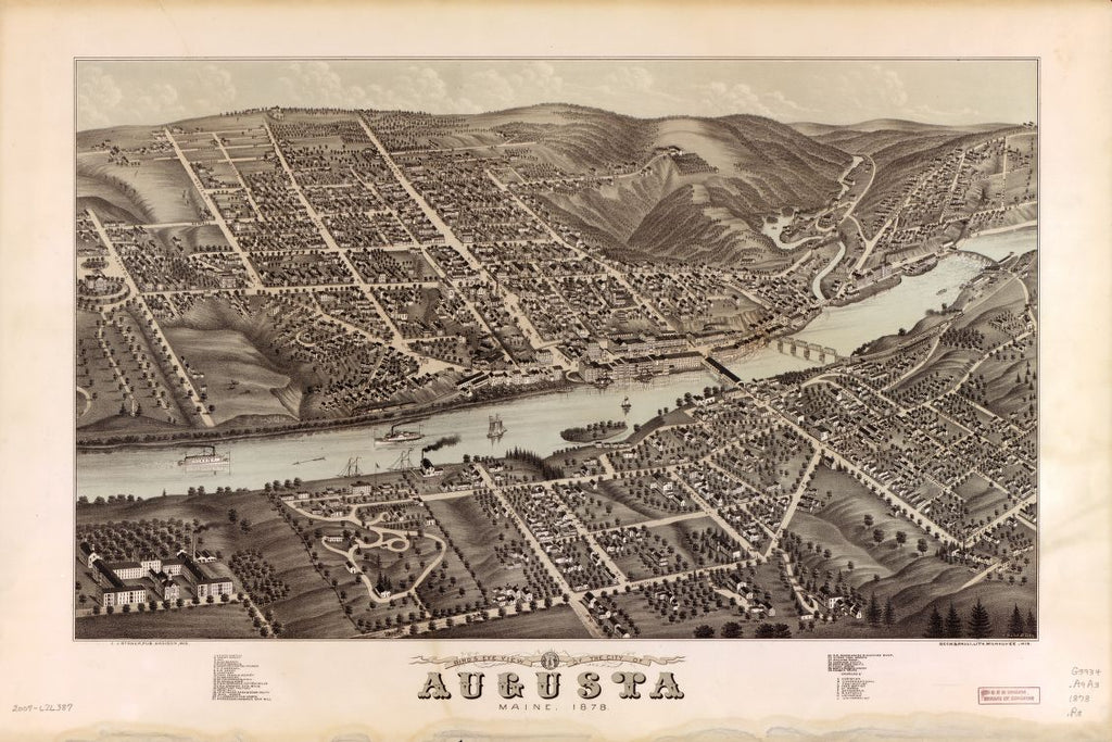 8 x 12 Reproduced Photo of Vintage Old Perspective Birds Eye View Map or Drawing of: Augusta, Maine, 1878  Ruger, A. - Stoner, J. J. - Beck & Pauli  1878