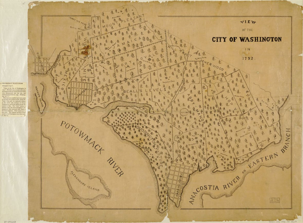 8 x 12 Reproduced Photo of Vintage Old Perspective Birds Eye View Map or Drawing of: Washington in 1792. none 186-?