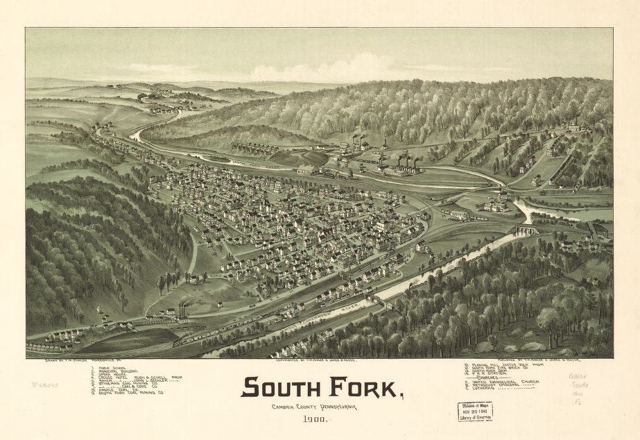 8 x 12 Reproduced Photo of Vintage Old Perspective Birds Eye View Map or Drawing of: South Fork, Cambria County, Pennsylvania 1900.   Fowler, T. M. - Moyer, James - Fowler, T. M.  1900