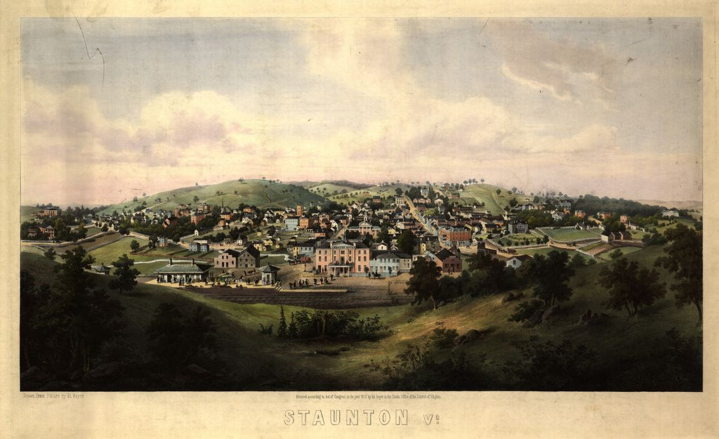8 x 12 Reproduced Photo of Vintage Old Perspective Birds Eye View Map or Drawing of: Staunton, Va. / drawn from nature by Ed. Beyer ; W. Rau. Rau, Woldemar 1857