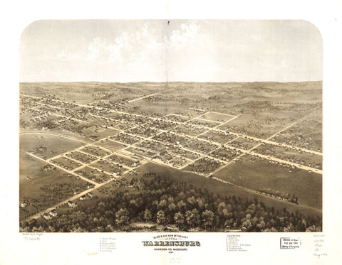 8 x 12 Reproduced Photo of Vintage Old Perspective Birds Eye View Map or Drawing of: Warrensburg, Johnson Co., Missouri 1869. Ruger, A. 1869