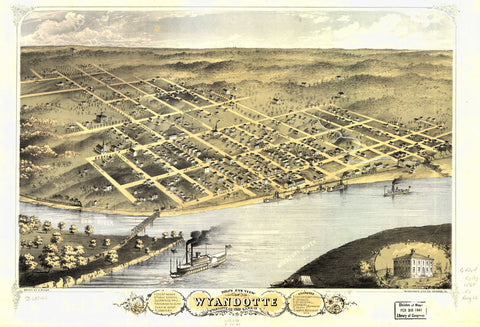 8 x 12 Reproduced Photo of Vintage Old Perspective Birds Eye View Map or Drawing of: Wyandotte, Wyandotte Co., Kansas 1869. Ruger, A. 1869